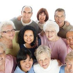 Diverse group of senior adults, isolated on white.